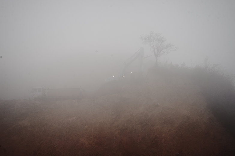 Phou Khoun Crane Dismantling Hill (Through the Mist)