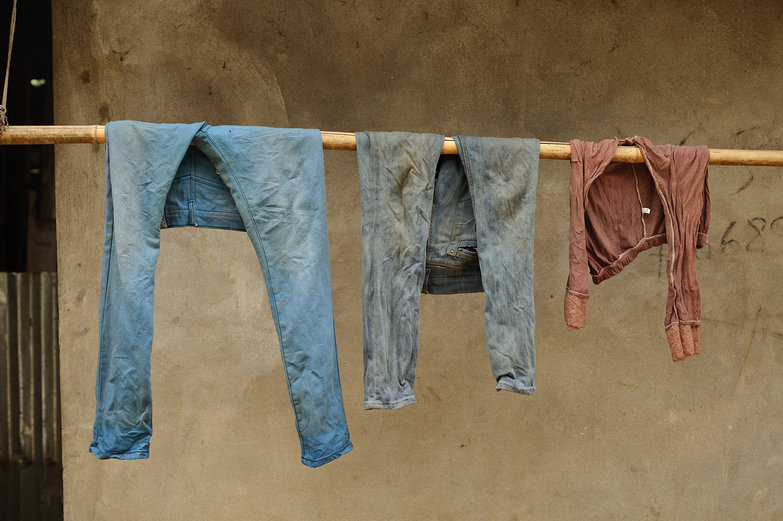 Lao Jeans Drying