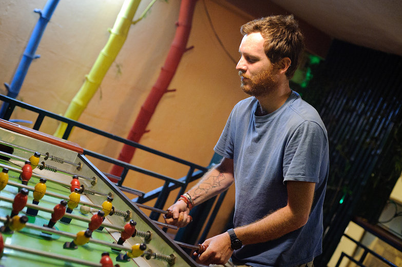 Pete Playing Foosball