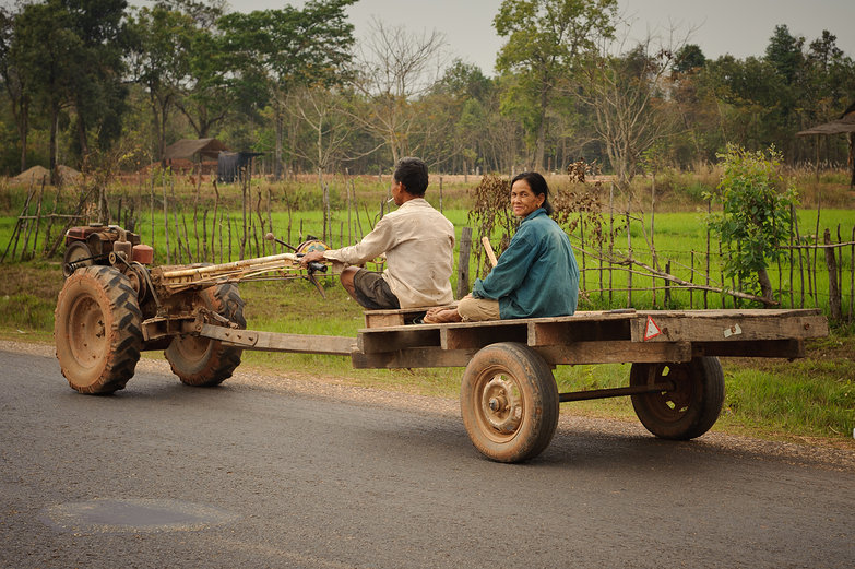 Lao Couple on Walking Tractor Car
