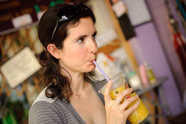 Katy Sipping Mango Shake