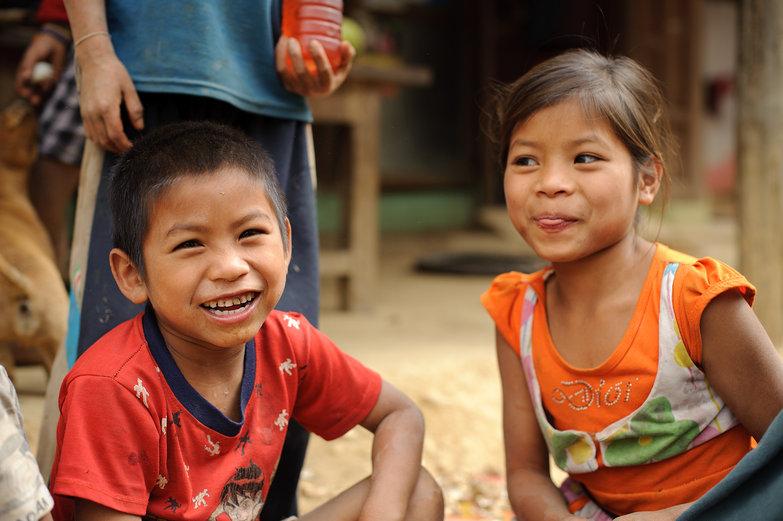 Lao Kids Goofing Around