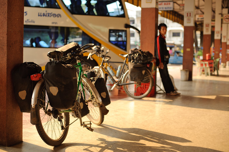Our Bikes at the Bus Station