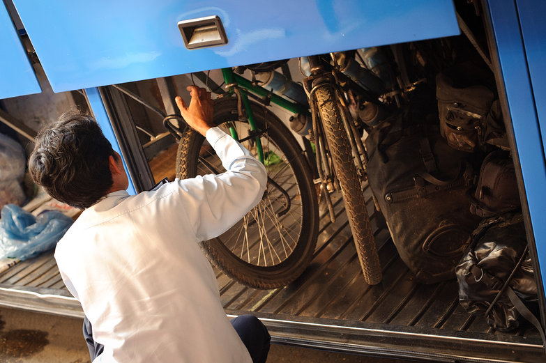 Loading the Bikes on the Bus