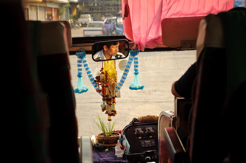 Plant Growing on a Thai Bus Dashboard