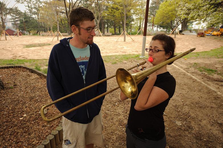 Jesse & Tara Playing Trombone
