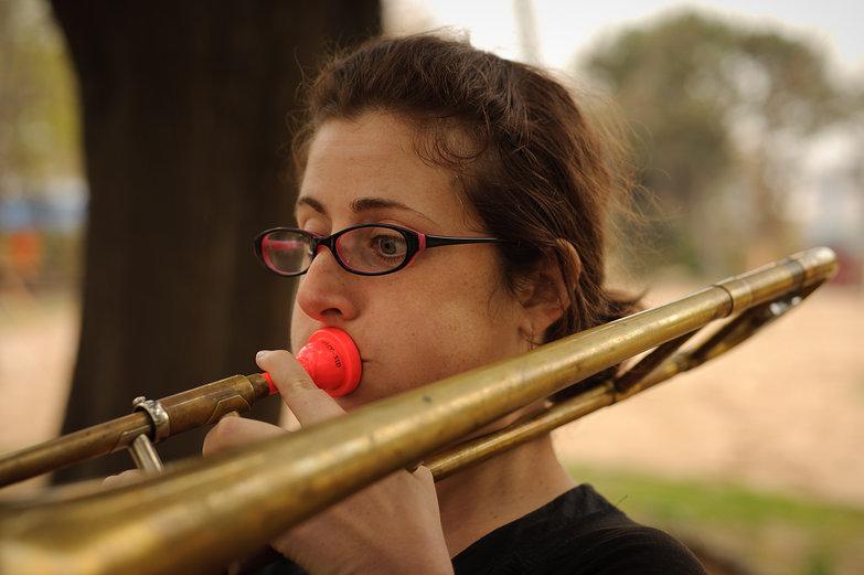 Tara Playing Trombone