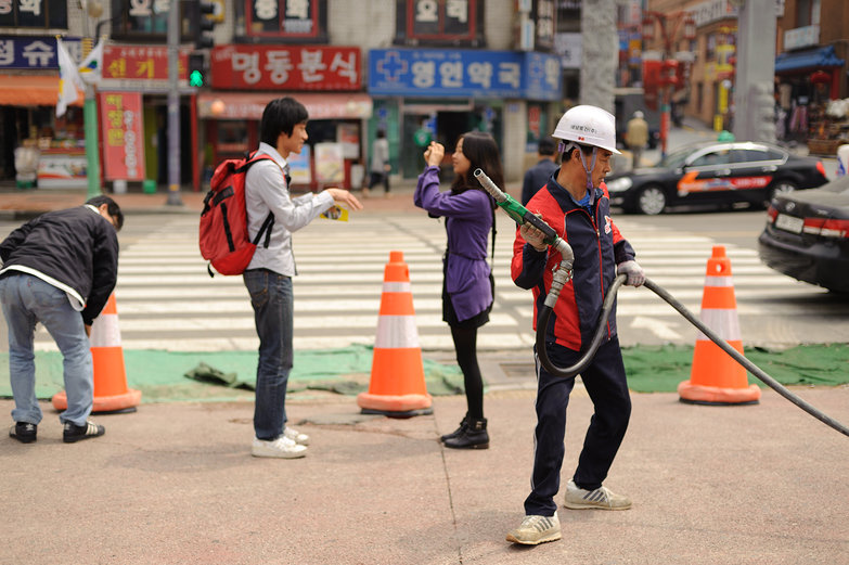 Couple Taking Pictures & Construction Worker in Korea