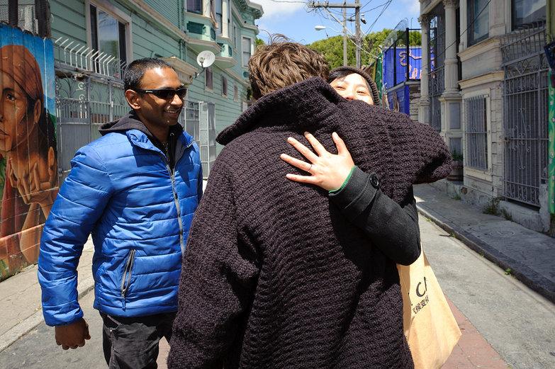 Lian Hugging Xiu, with Sanjay