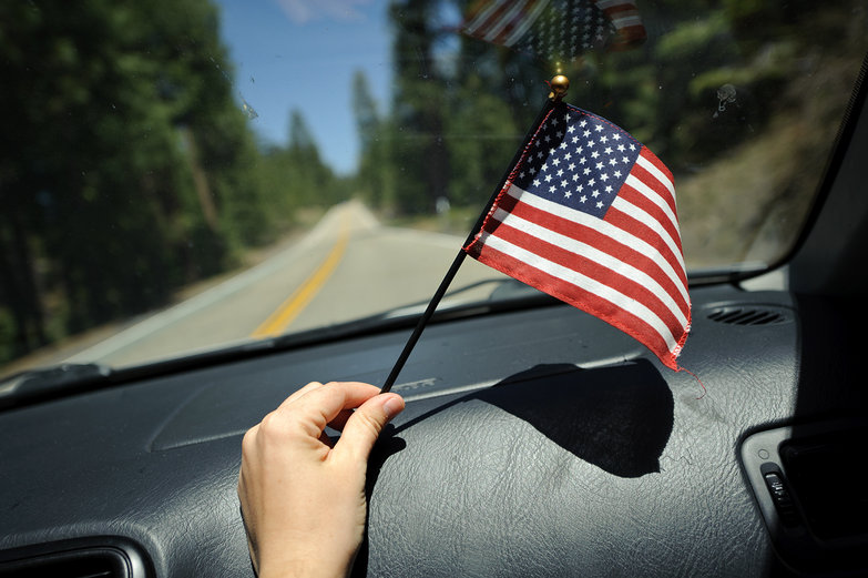 American Flag in Our Car