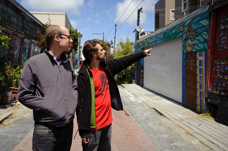Lian & Dan Looking at Mission District Mural