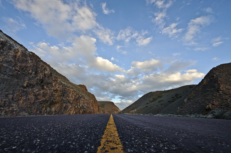 Nevada's Loneliest Road at Dusk