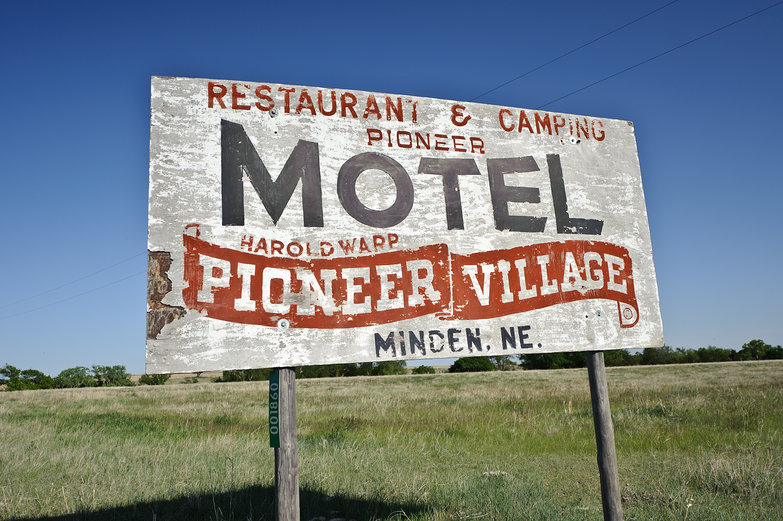 Old Roadside Sign: Pioneer Motel @ Pioneer Village in Minden, NE