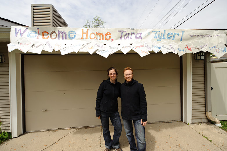 Us & Welcome Home Banner (Thanks mom!)