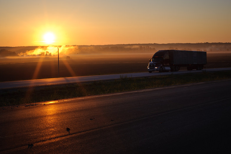 Morning Missouri Sunrise w/Semi Truck