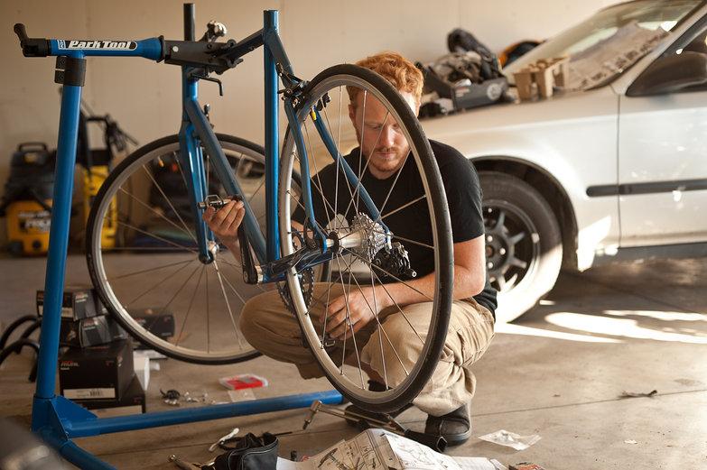 Tyler Working on Tara's New Road Bike
