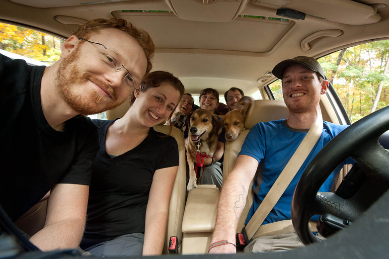 Happy Campers Piled in the Car (Tyler, Tara, Fitz, Natasha, Lila, Jess, Malta, Nick, Pete)