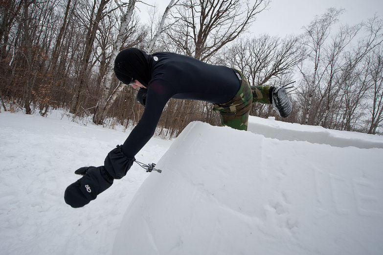 Alex Leaping Out of Igloo