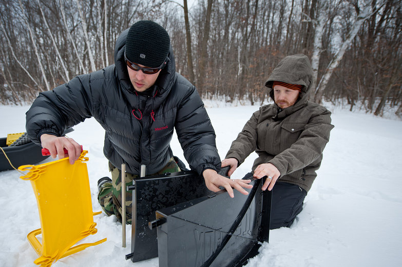Alex & Tyler Setting Up the Ice Box