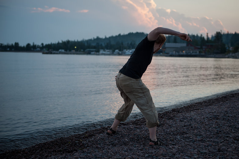 Tyler Skipping Stones in Lake Superior