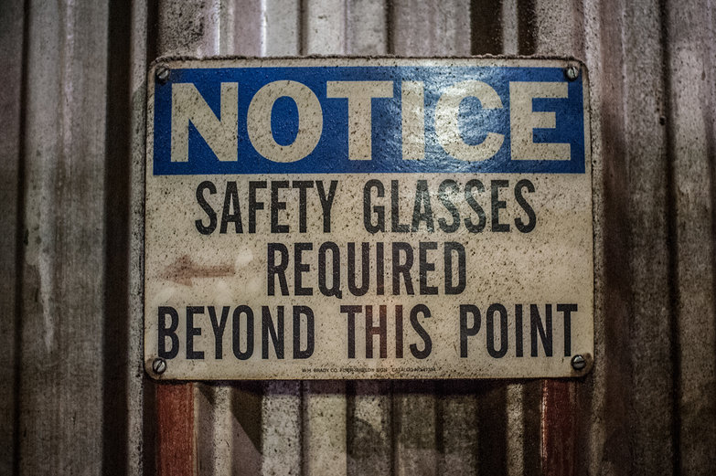 NOTICE: Safety Glasses Required Beyond This Point