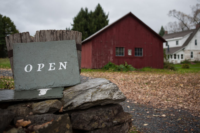 Robert Frost Museum Open Sign