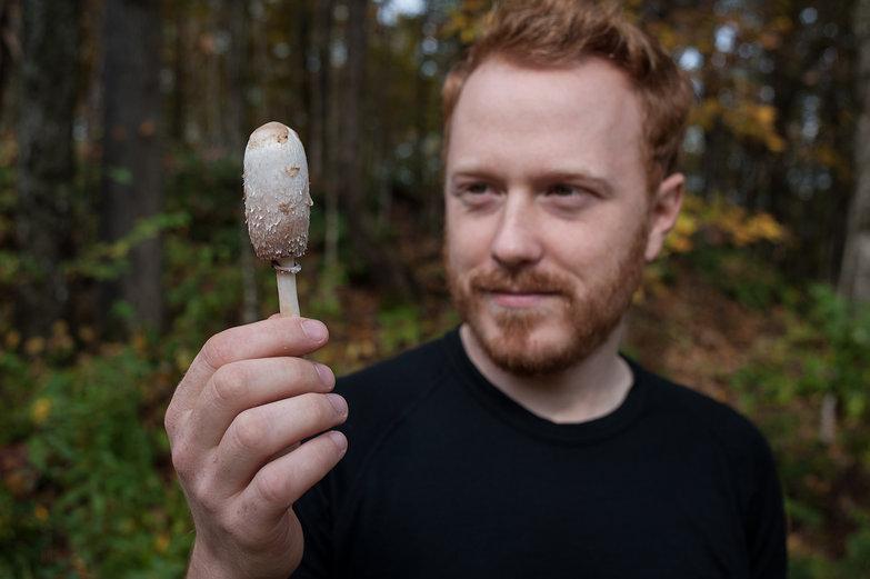 Tyler Holding a Mushroom