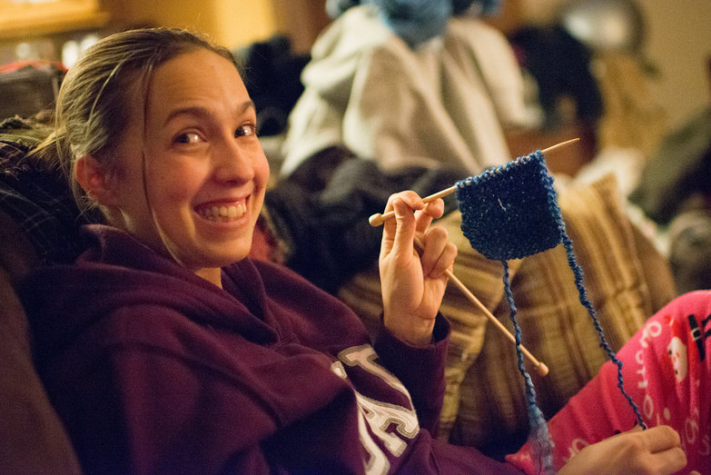 Amanda Learning to Knit
