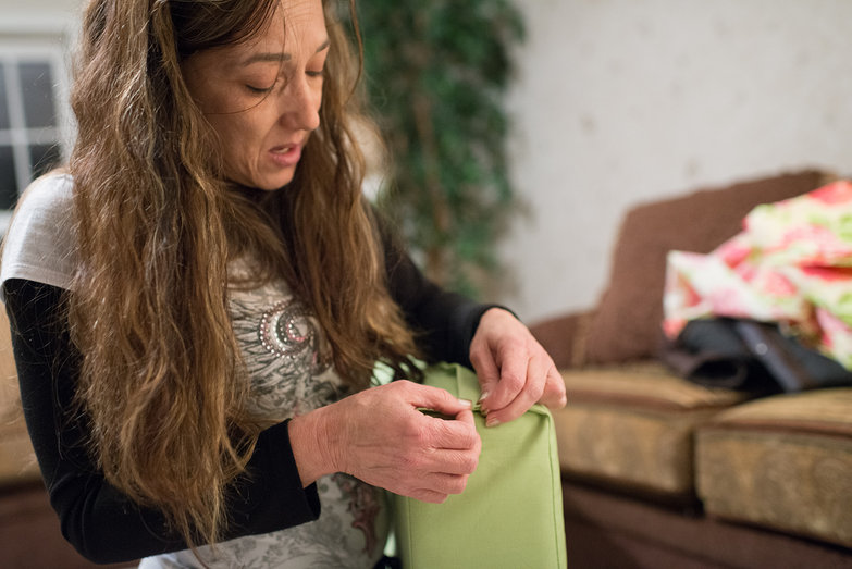 Jodi Testing a Cushion Cover