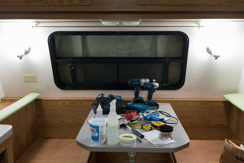 Camper Table Covered in Tools