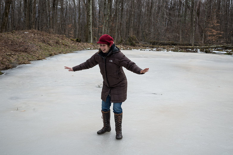 Tara on our Frozen Pond