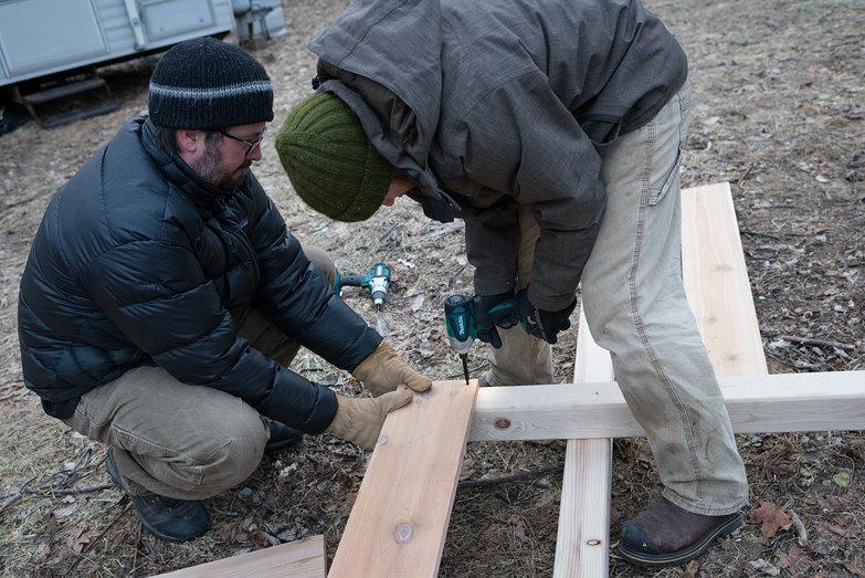 Jeremy & Tyler Assembling Compost Bins