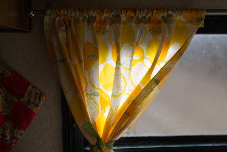 Lemon Curtains in our Camper