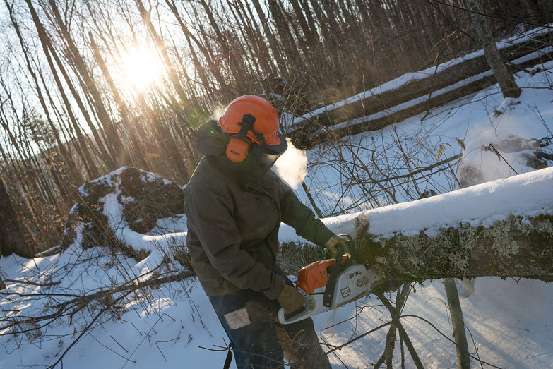 Tyler Chainsawing on a Cold Winter Morning