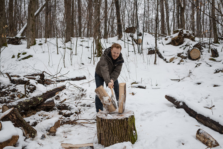 Tyler Splitting Wood