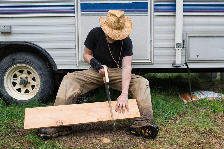 Tyler Cutting Cedar Plank