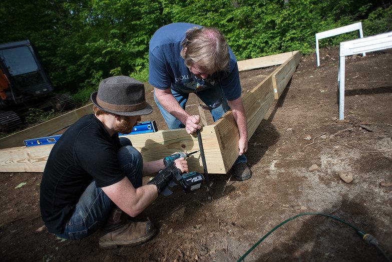 Tyler & Rick Assembling Concrete Form