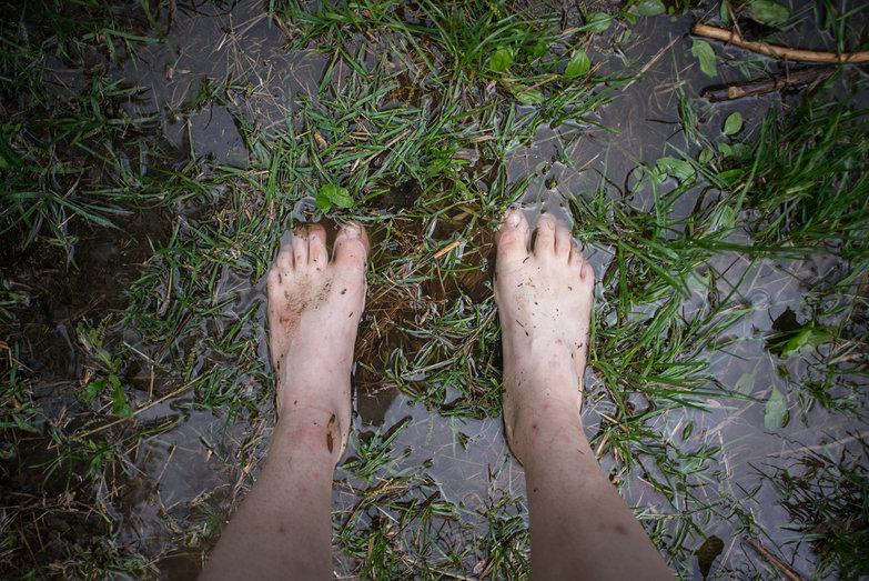Tara's Feet in Puddles