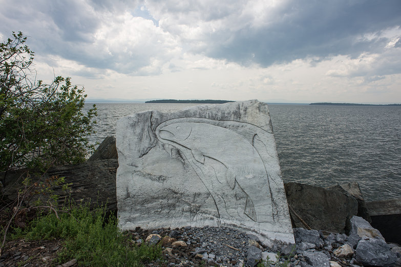 """Of the Lake"", a Rock Sculpture on Causeway in Lake Champlain by Cumbria Rock Sculpture"