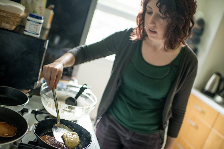 Katherine Making Her First Pancakes