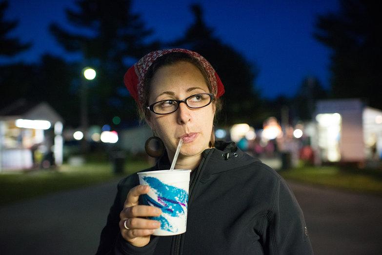 Tara Drinking Lemon Shakeup at Ossipee Valley Fair