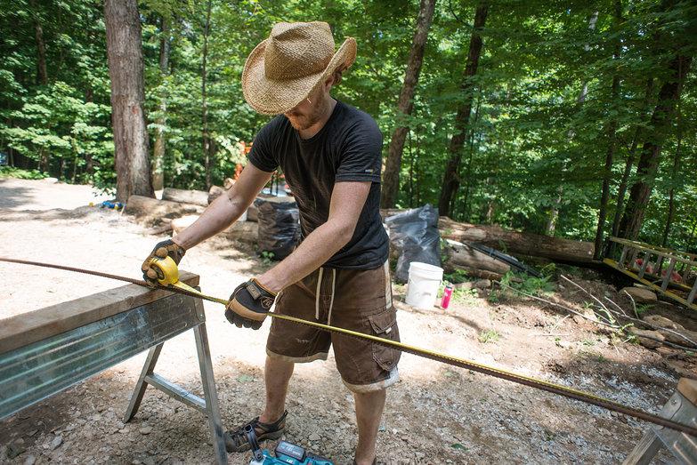 Tyler Measuring to Cut Rebar