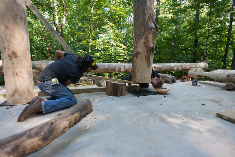 Tyler Lining up Grindbygg Post Hole