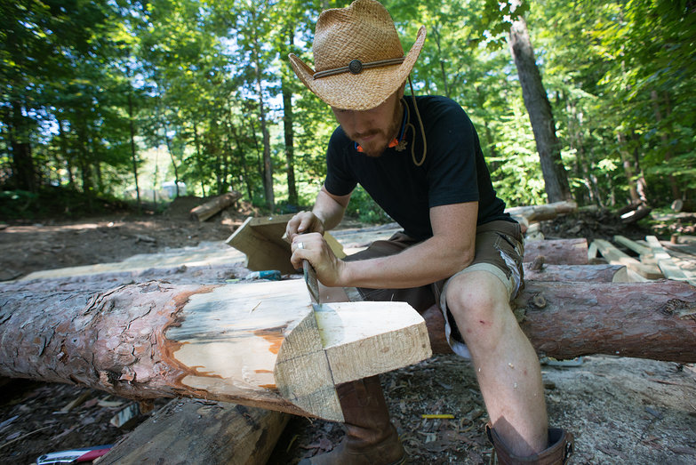 Tyler Chiseling Rafter Tenon