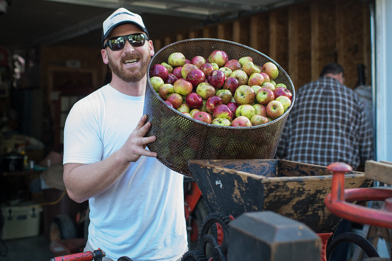 Mike Loading Apples into the Cider Mill Hopper