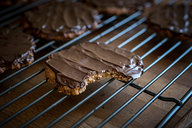 Chocolate Covered Low Carb Hob Nob Cookie
