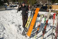 Tara with Backpack & Skis